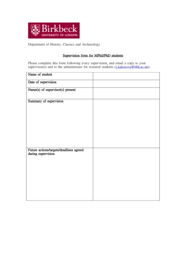 Supervision form