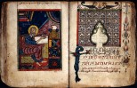 Wellcome Library, London Miniature of St Luke, patron saint of medicine, and the beginning of the third Gospel. Transcribes by Shmawon the scribe and illuminated by Abraham for the sponsor Lady Nenay.