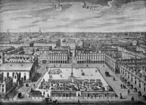 General view of Covent Garden looking north, circa 1720, from an engraving by Sutton Nicholls: this engraving was first published in London Described or the most noted Regular Buildings both Public and Private, with the Views of several squares in the Liberties of London and Westminster (1731)