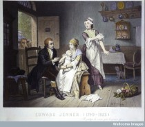 L0011550 Edward Jenner, vaccinating his young child, held by Mrs Jenn Credit: Wellcome Library, London. Wellcome Images images@wellcome.ac.uk http://wellcomeimages.org Edward Jenner, vaccinating his young child, held by Mrs Jenner; a maid rolls up her sleeve, a man stands outside holding a cow. Coloured engraving by C. Manigaud after E Hamman. Coloured engraving late 19th century? By: E. J. C. Hammanafter: C. ManigaudPublished:  -   Copyrighted work available under Creative Commons Attribution only licence CC BY 4.0 http://creativecommons.org/licenses/by/4.0/